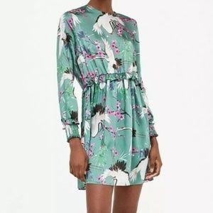 NWT Zara Crane Heron Blossom Silky Green Dress